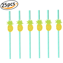 Paper Straws Disposable Biodegradable Cartoon Decorative Flamingo Strawberry Pineapple Lemon Drinking Straw for Birthday P
