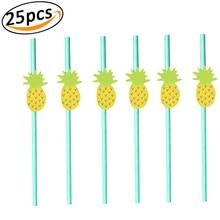Paper Straws Disposable Biodegradable Cartoon Decorative Flamingo Strawberry Pineapple Lemon Drinking Straw for Birthday P