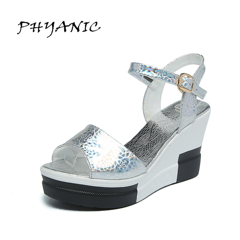 PHYANIC 2017 Summer New Women's Sandals Buckle Wedges Heel Summer Shoes Bling Bright Sandals Color Gold Silver PHY3336 phyanic 2017 gladiator sandals gold silver shoes woman summer platform wedges glitters creepers casual women shoes phy3323
