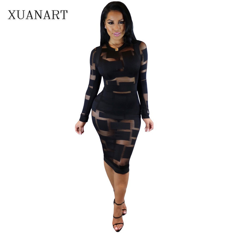 Xuanart 2017 Winter Women Black White Sexy Club Bodycon Dress Sheer Mesh Patchwork Patch Vintage Long Sleeve Bandage Party Dress