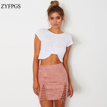 ZYFPGS 2019 Spring Summer Sexy Skirt Woman Skirts Chamois Plus Size Denim Leather New Arrivals #D0060