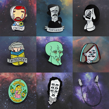 Painter Self Portrait Brooch Allan Pole Van Gogh Mystery Girl Eye Squidward Introvert Boy Princess Prayer Ghost Enamel Pin Badge