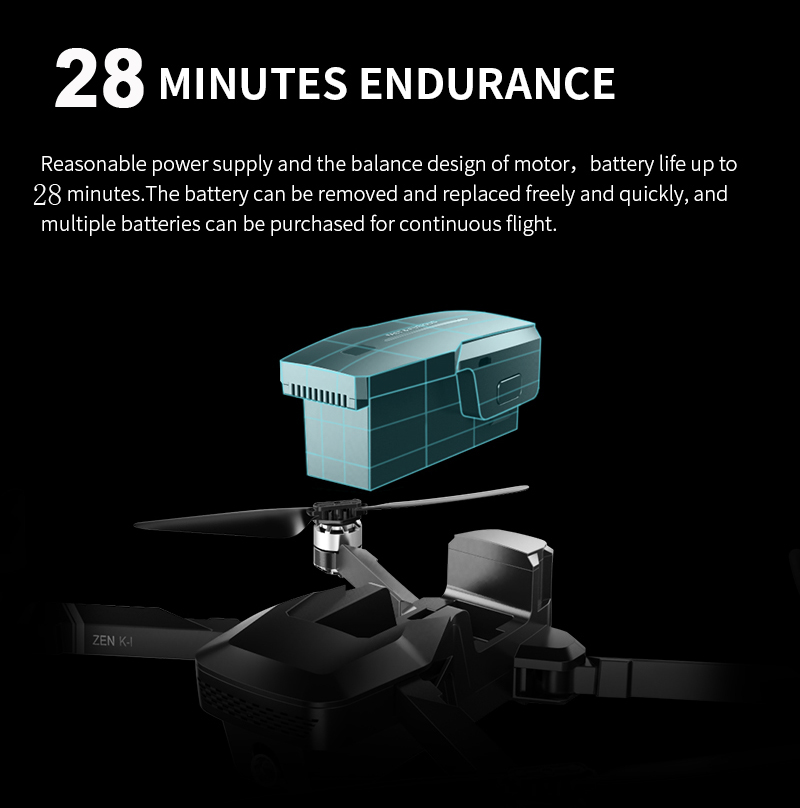 Visuo ZEN K1 Drone RC avec 50 Fois Zoom 4K Grand Angle HD Double Caméra 5G Wifi FPV Moteur Brushless Vol 28mins Dron VS F11 - 4