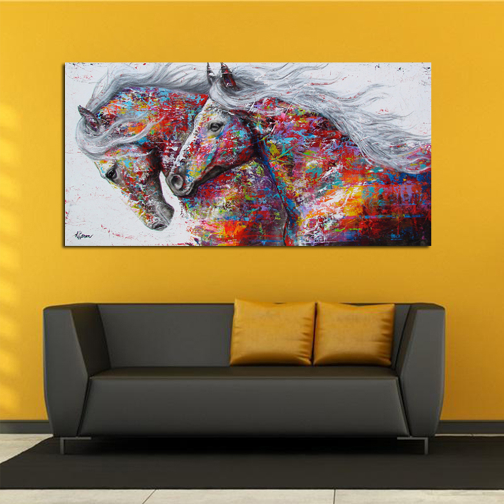 Oil Painting Wall Pictures Horse For Living Room Home Decor Abstract ...