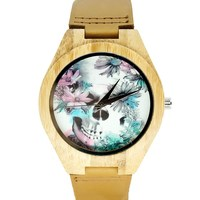 PENGNATATE Women Watches Top Brand Luxury Wood Watch Skull Flower Design Natural Bamboo Genuine Leather Strap