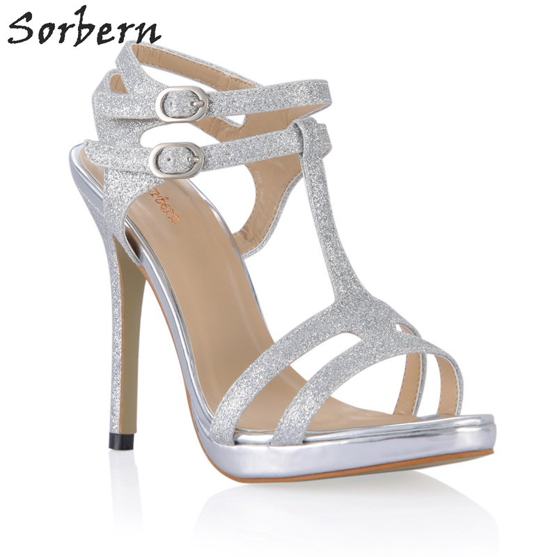 Sorbern Silver Glitter T-Strap High Heel Sexy Party Sandals Ladies Shoes Sandals Summer Women Heels 2018 Stilettos Custom Color sexy big stars sandals style pvc clear transparent back strap high heel sandals plus size custom stilettos women shoes