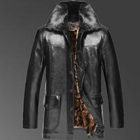 2017 Nieuwe collectie winter beroemde merk mens casual faux lederen jassen en jassen met grote bontkraag Plus fluwelen voering bont een