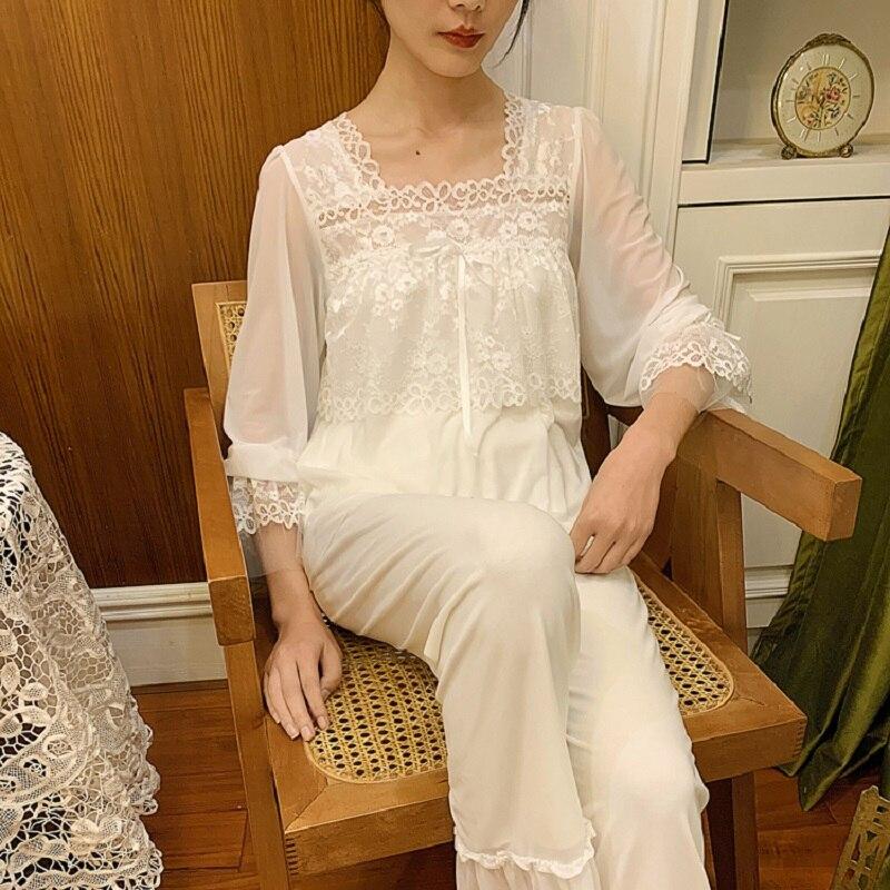 Spring Summer Sweet  White Lace Gauze Women's Pajamas Sets Soft Modal Inner Elegant Vintage Princess Lace Sleepwear Suits  2237