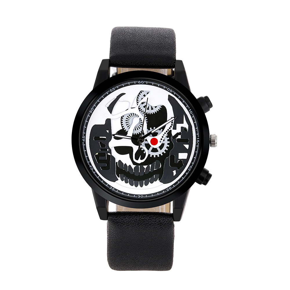 Luxury Leather Men Sports Watch Brand Men Unique Pirate Skeleton Skull Quartz Watches Relogio Masculino Dropshipping