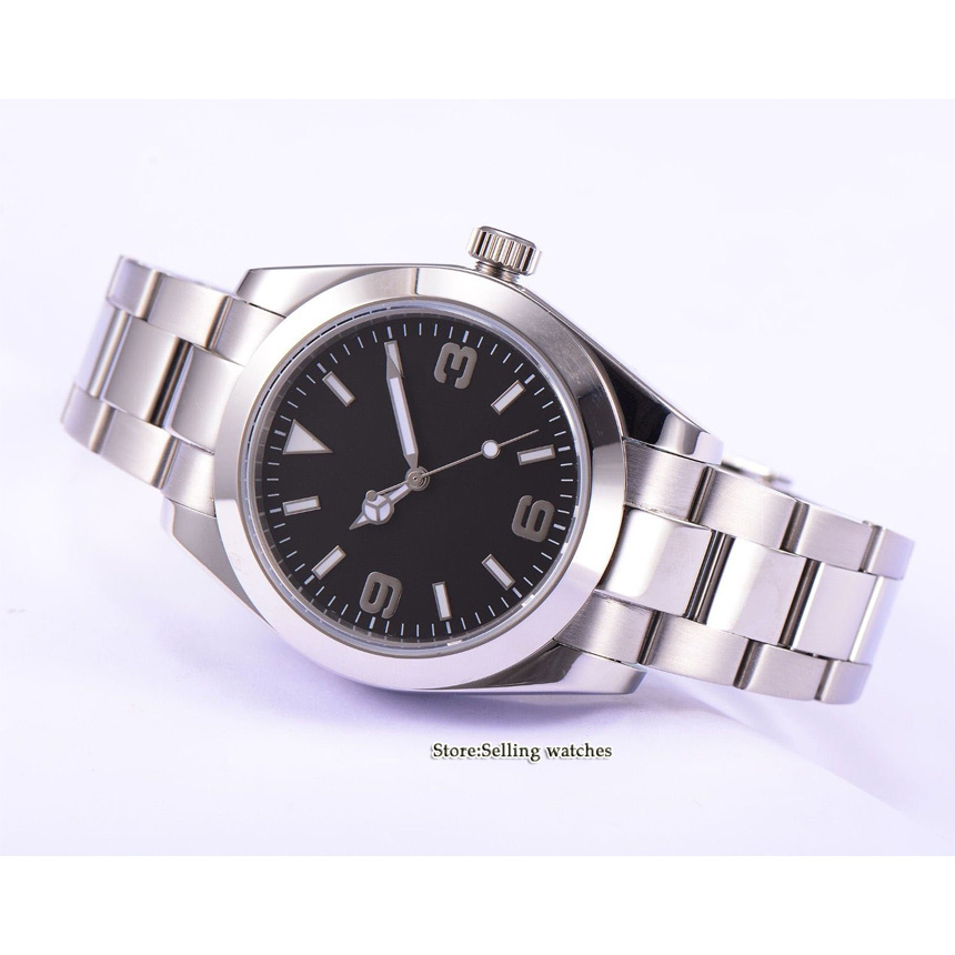 Parnis Sapphire Glass black Sterile Dial 40mm Automatic Men Watch-in Mechanical Watches from Watches