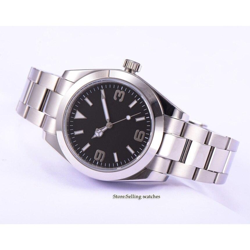 Parnis vidro safira preto estéril dial 40mm relógio automático masculino