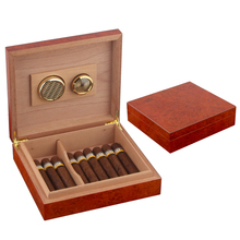 COHIBA Foldable Cigar Accessories Cedar Wood Humidor Box Travel Case with Humidifier Hygrometer