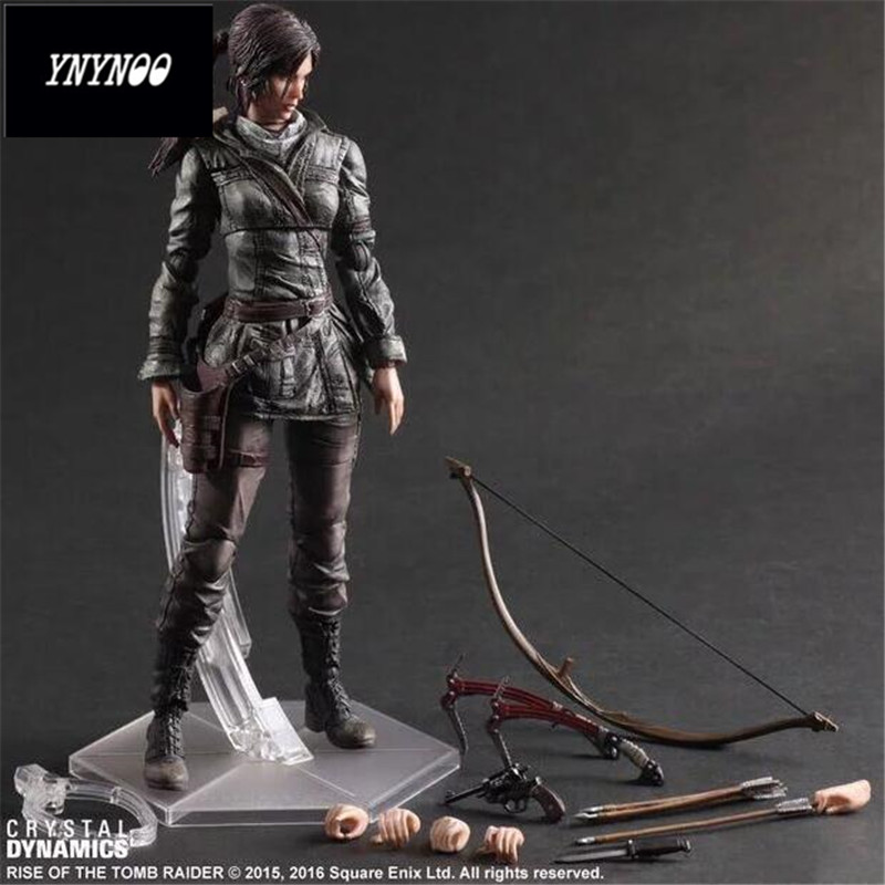 все цены на YNYNOO The Tomb Raider Action Figure Lara Croft Play Arts Kai Toys PVC Anime Movie Toys Rise of The Tomb Raider Playarts Lara онлайн