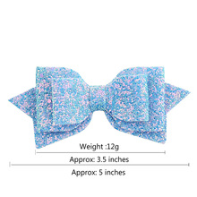 Girls Children Bowknot Hairpin Polyester Ribbon Sequins Trellis Gradient Cute Headdress 5 Inches 881