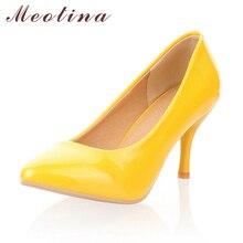 Meotina女性の靴ハイヒールハイヒールの靴の女性は白のウェディングハイヒールの靴イエローブラック大サイズ 9 10