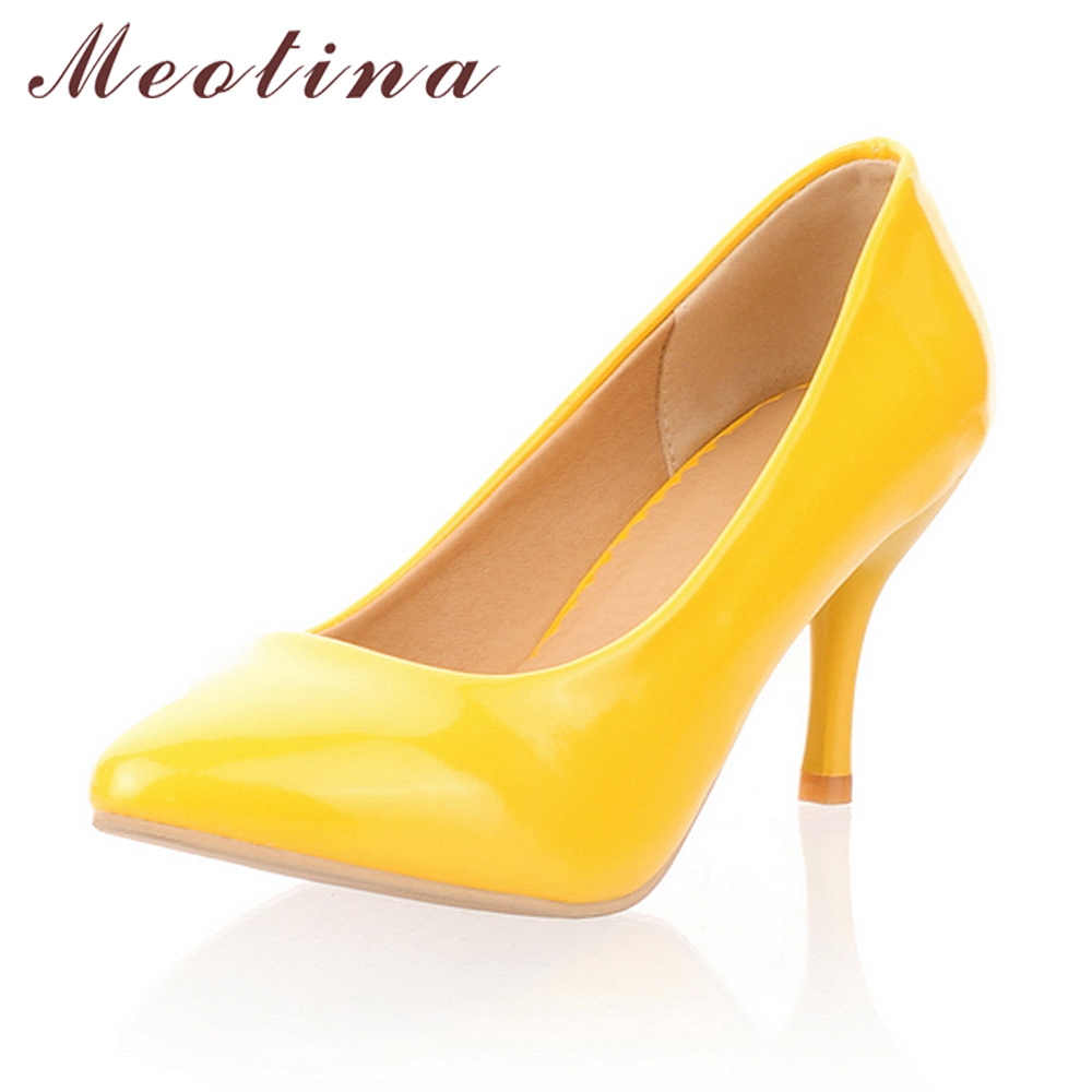Meotina Women Shoes High Heels Pointed Toe High Heel Shoes Women Pumps White Wedding Heels Footwear Yellow Black Large Size 9 10 цена