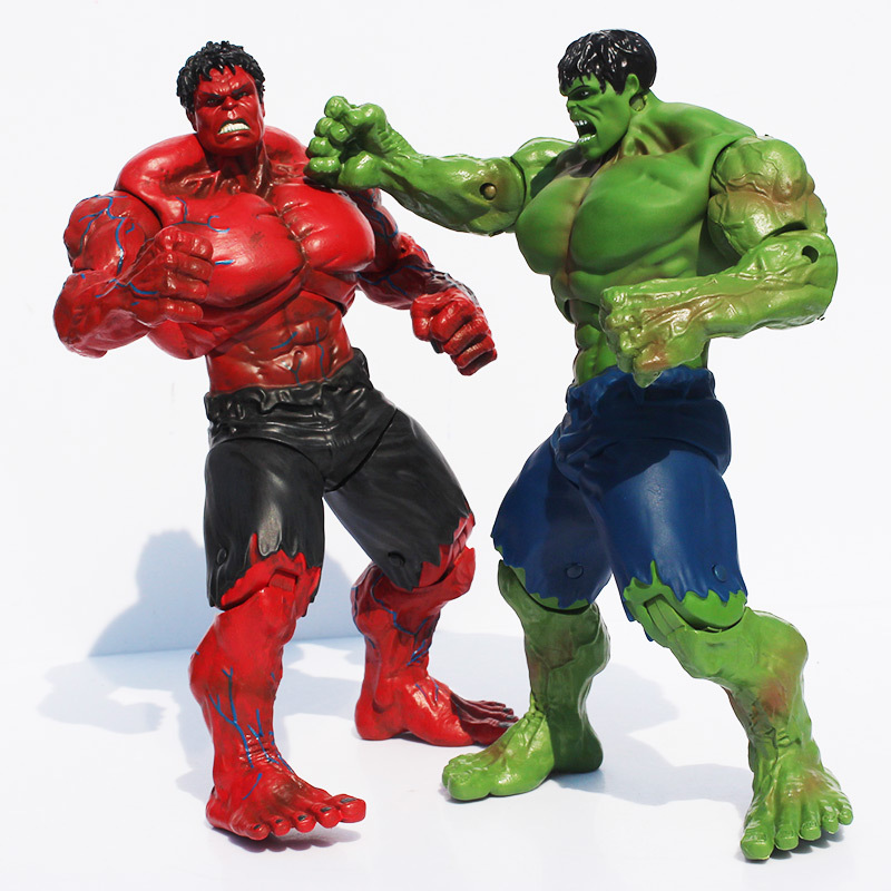 Movie Super Hero The Avengers Hulk PVC action Figure toy 25cm Red Hulk Green Hulk Figures Toys Free Shipping 2017 new avengers super hero iron man hulk toys with led light pvc action figure model toys kids halloween gift