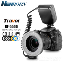 RF-550D 48pcs Macro LED Ring Flash Bundle with 8 Adapter Ring for Canon Nikon Pentax Olympus Panasonic DSLR Camera Flash