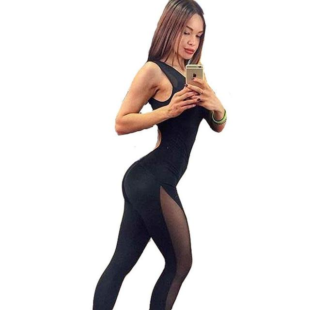 Bodysuit Ser Fitness Malha Sexy Patchwork Mulheres Tanque Jumpsuit Romper Playsuit Macacão Macacão Mulheres Macacão Combinaison Femme
