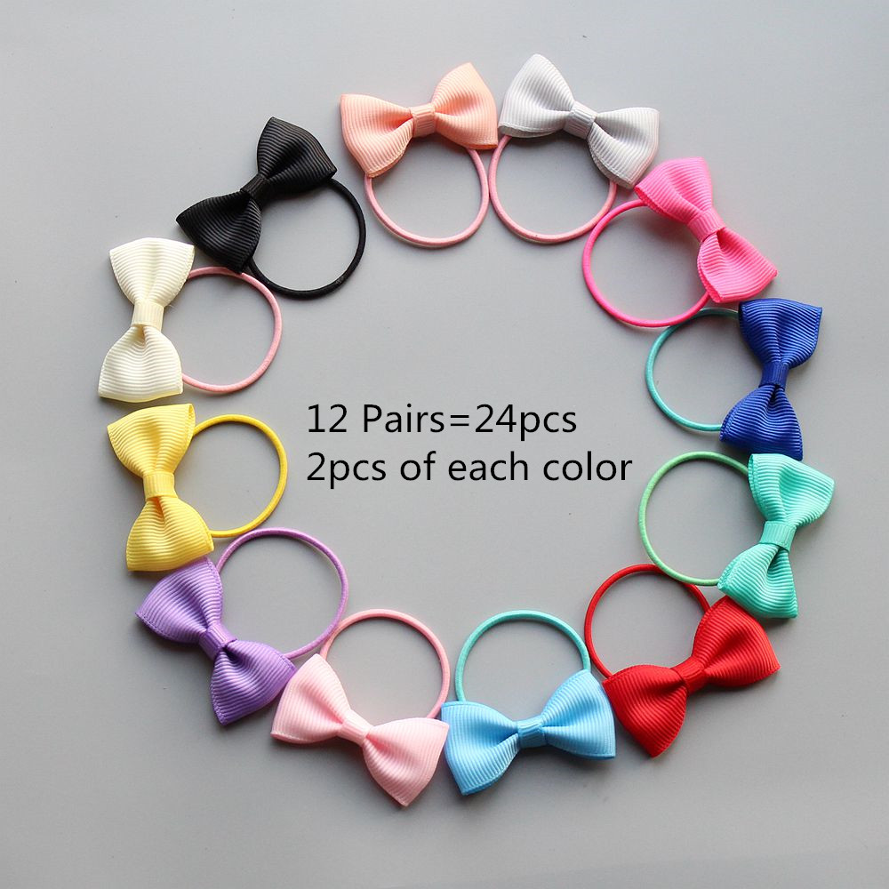 12-24pcs/lot girl kids hair ties small hair bow elastic rubber band hair gum cute bowknot scrunchy hair accessories hairband Q26 metting joura vintage bohemian ethnic tribal flower print stone handmade elastic headband hair band design hair accessories