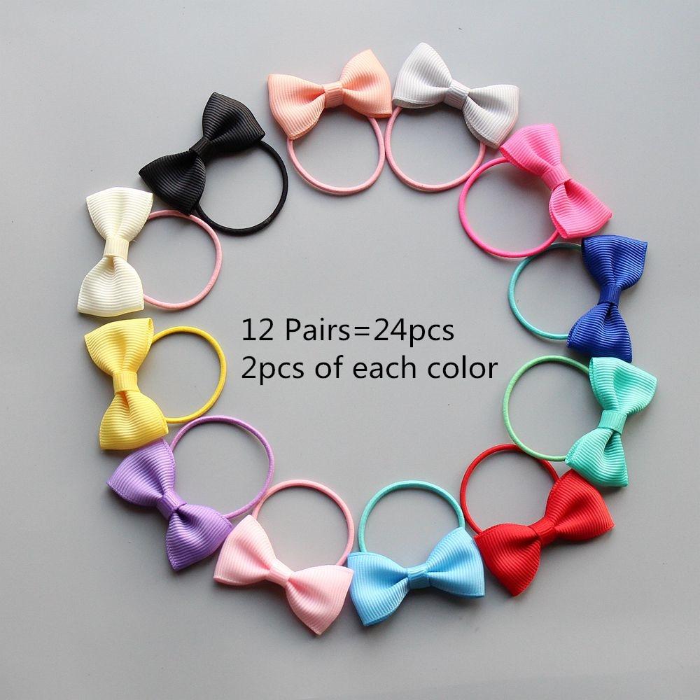 8/10/12/24pcs Kids Girls Hair Ties Bows Elastic Rubber Band Hair Rope Gum Flower Scrunchy Children Hair Accessories Hairbands