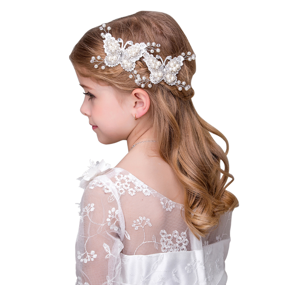 ad48ed2d811dc White Simulated Pearl Butterfly Barrettes Hair Clips Flower Girls Wedding  Party Headdress Ornaments Headpiece Hairgrip Gifts
