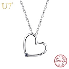 U7 100% 925 Sterling Silver Love Heart Pendant & Chain With Gem 2018 Mother's Day Gift For Girl/Women Jewelry Necklace SC40