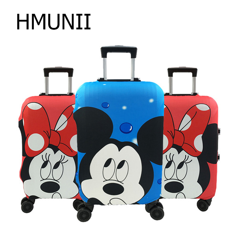 HMUNII Hot  Minnie And Mickey Travel Suitcase Protective Cover Elastic Dust Case Cover For 19-32 Inch Trolley Travel Accessories