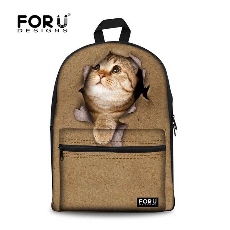 16518471df0ca Forudesigns خمر 3d القط المرأة قماش طالبات حقائب الكتف حقيبة سفر mochila  infantil