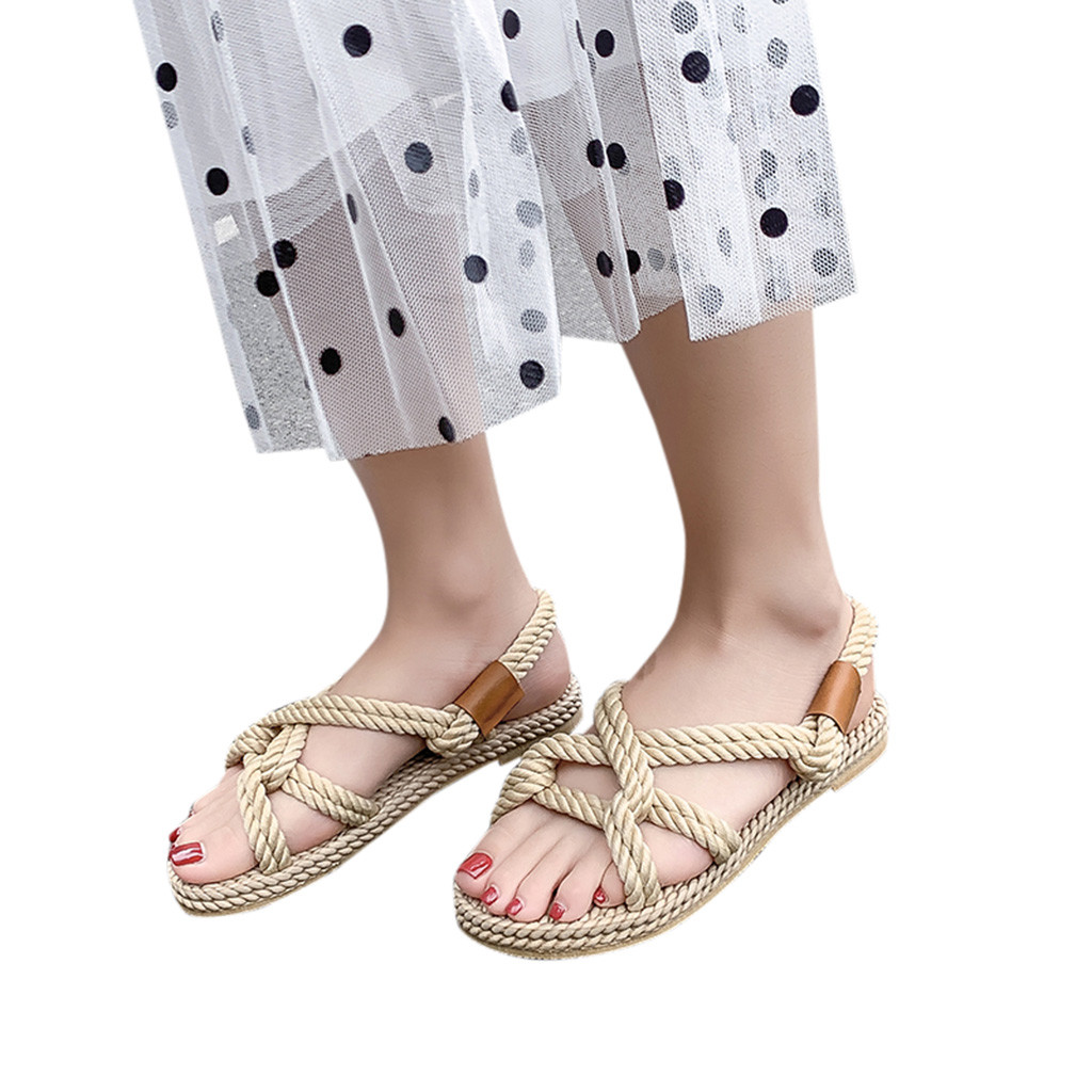 Womens Sandals Shoes Grass Platform Comfort Summer New Flat Breathable