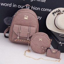New 3 pieces 2019 fashion Pu Leather Women Backpack Simple Preppy Style Backpack Women Famous