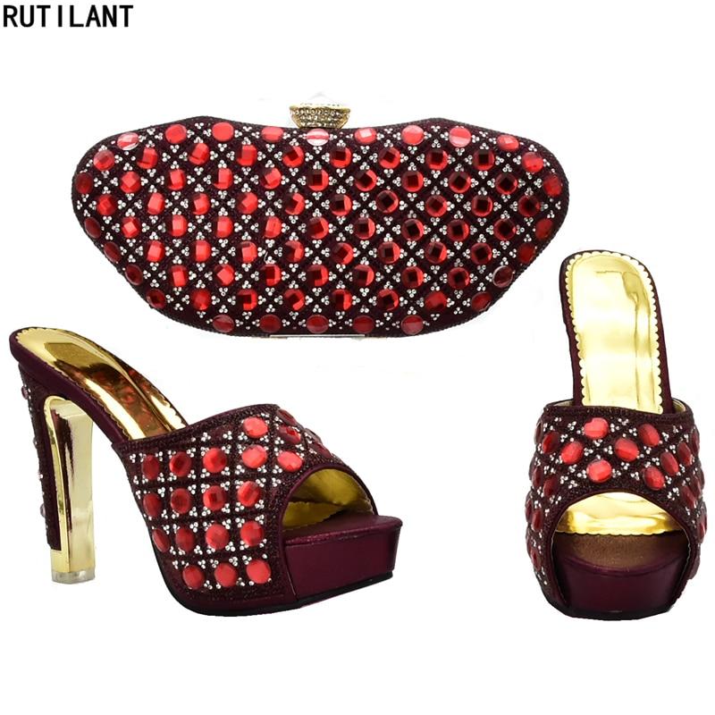 Nigeria Tinto Zapatos Azul oro Tacón Diamantes Con A Las Y Mujeres Lujo vino Imitación fuchsia Juego Para Fiesta Alto De plata Bolsos Decorado rrq1dwT