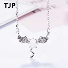 TJP New Top Quality  Female 925 Silver Women Pendants Necklace Trendy Animal Design Stones Necklace For Girl Lady Party Jewelry стоимость