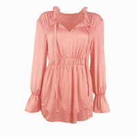 Hot Selling Plain T Shirt For Woman Elastic Basic Splicing Top Tees Female Casual Lantern Sleeve