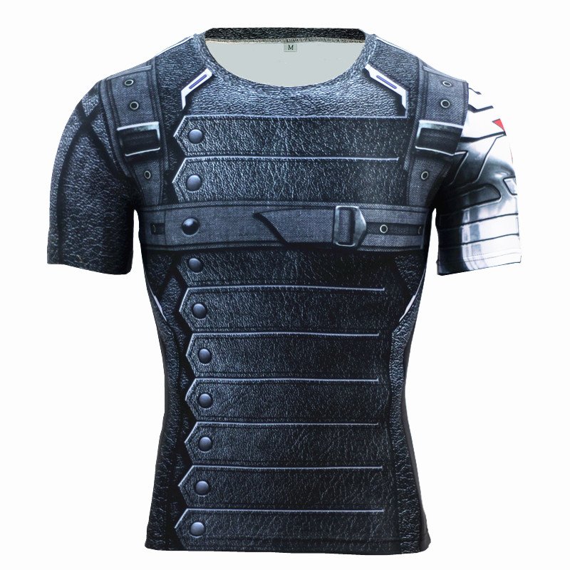 T Shirt Uomo Fitness Compression Shirts Fitness Men Superman Bodybuilding Manica corta 3D Black Panther Maglietta Crossfit Tshirt