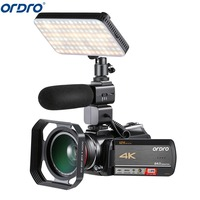 Ordro AC5 4 K 12X Оптический зум 24MP Wi Fi ips Сенсорный экран цифровой Камера + бленда + Широкий формат объектив + микрофон + led Light + ручной