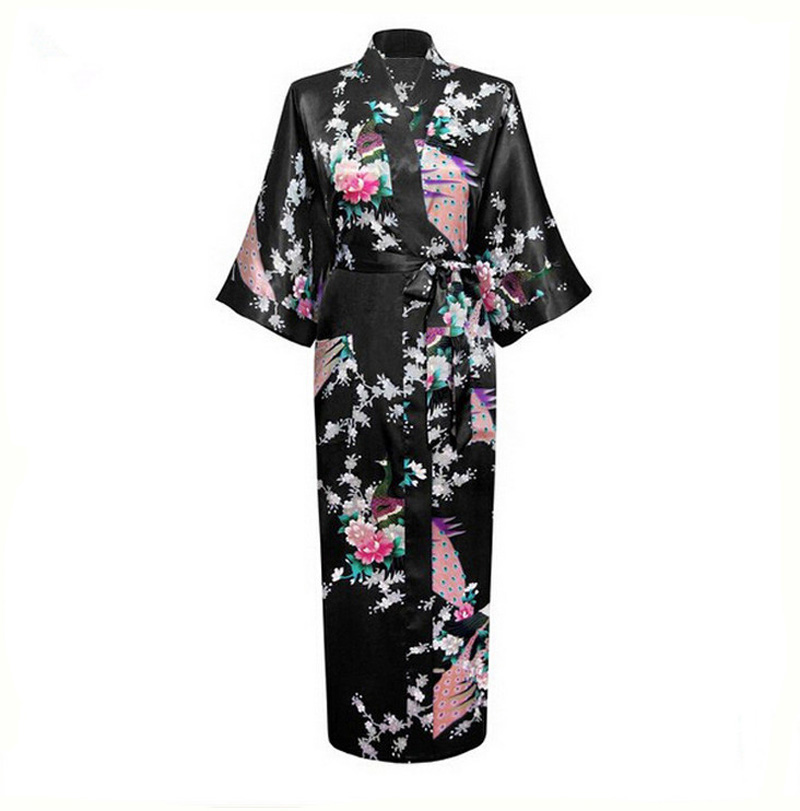 Sexy Black Chinese Female Rayon Silk Robe Printed Nightgown Long Sleepwear Kimono Bath Gown Pijamas Mujer Plus Size XXXL NR023