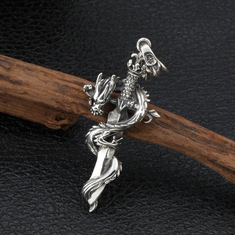 En gros S925 en argent Sterling noir Vintage Thai argent personnalité croix Dragon hommes et femmes pendentif