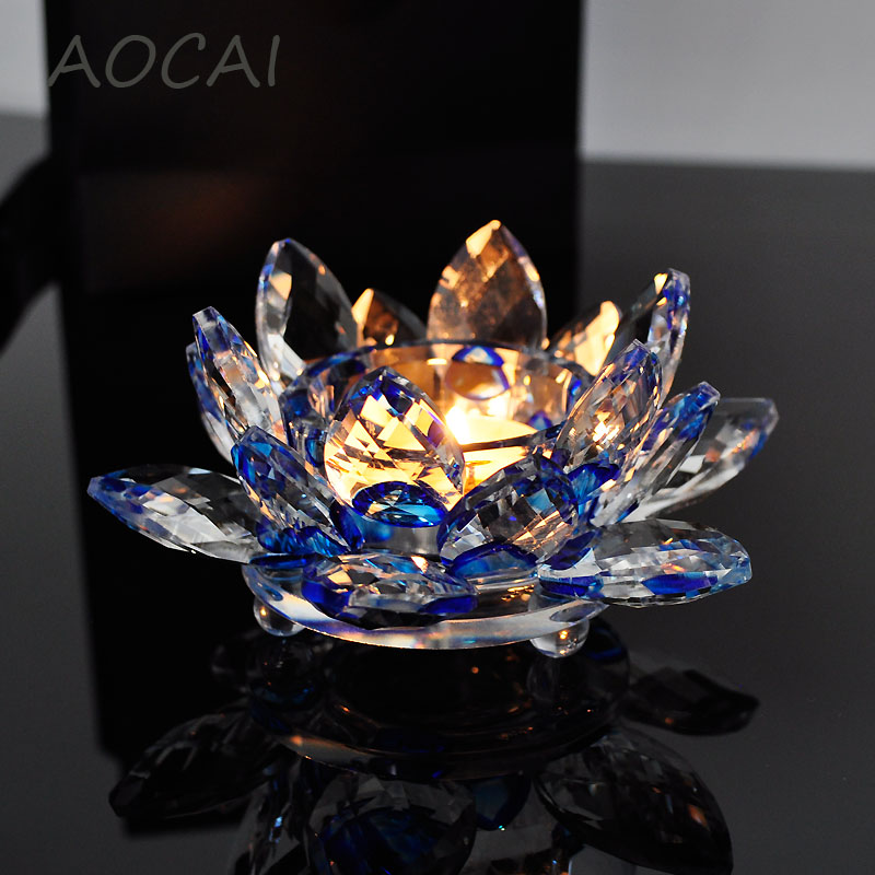 Blue Crystal Glass Lotus Flower Candle Holders Wedding Columns Candelabra Centerpieces Holder Home Decor Bowl Candlestick