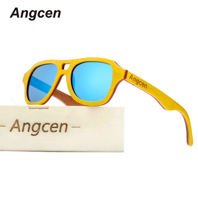 Angcen Fashion Brand Men's Polarized Sunglasses wood Frame Men and Woman Sun glasses by handmade UV400 Mirrors Coating Eyewear 2016 new fashion sunglasses women brand designer sun glasses vintage eyewear