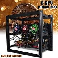 Leory For 6 GPU ETH Ethereum 50x50cm Miner Frame Bracket Open Air Mining Miner Frame Rig Case Bracket 6xGraphics Card 3xFan Slot