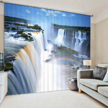 Water Fall Luxury 3D Blackout Window Curtains For Living room Bedding room Home Wall Decorative Carpet Drapes Cortinas para sala