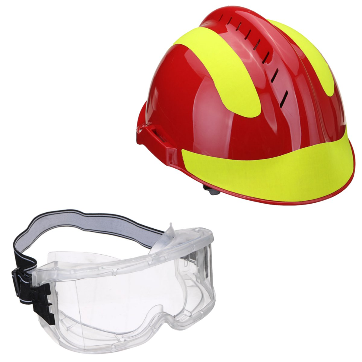 Safurance Rescue Helmet Fire Fighter Protective Glasses Safety Protector  Workplace Safety Fire Protection  53CM-63CM tactical wargame motorcycling helmet w eye protection glasses black size l7