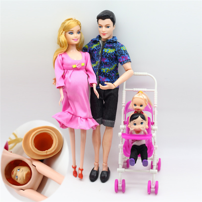 Pregnant Mother Baby Dolls Family Group Little Girl + Boy