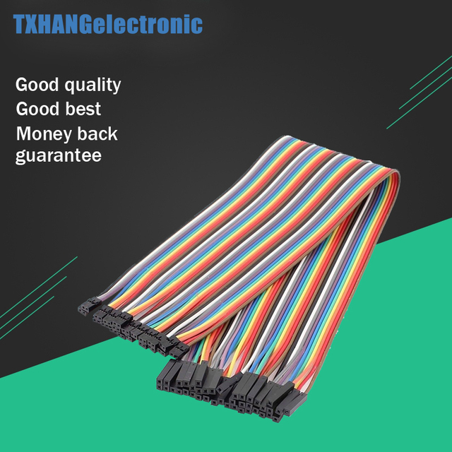 40pcs 20cm 2.54mm 1p-1p Pin Female to Female Color Breadboard Cable Jump Wire Jumper