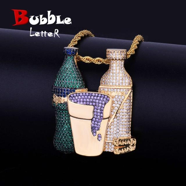 Double Sprite Bottle Purple Color Cup Hip Hop Pendant Necklace Gold Color Cubic Zircon Mens Jewelry With 4mm Tennis Chain