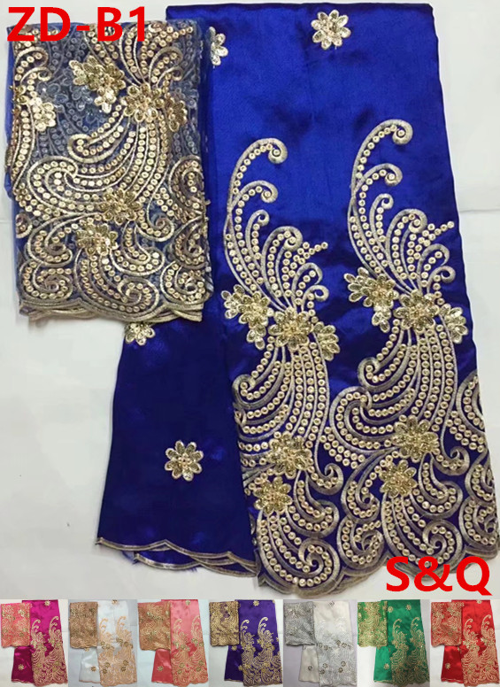 Hot sale 7yards african george lace fabric african french lace fabric high quality nigerian lace fabrics for wedding dress ZD-B1
