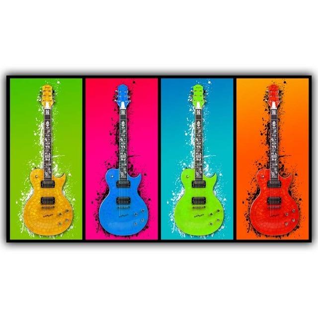 Super Popart Guitare Instrument de Musique Moderne Art Peinture Image  AI18