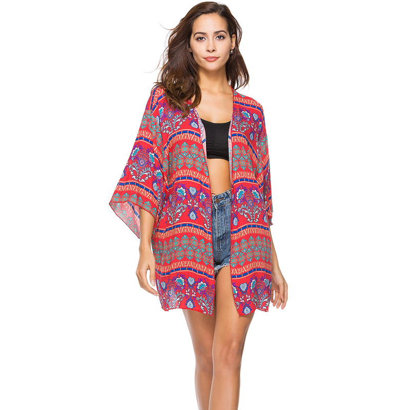2018 Summer Bohemian Beach Cardigan Cover Up Blouse Tops Ethnic Print Loose Clothing Bathing Suit Vintage Mujer Blusa Tunic Wear