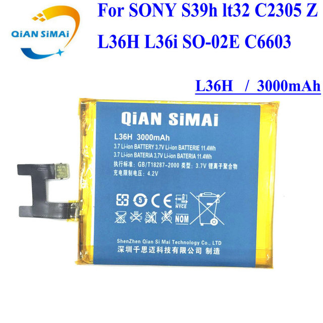 QiAN SiMAi For SONY S39h lt32 C2305 Z L36H L36i SO-02E C6603 1PCS New 100% High Quality LIS1502ERPC L36H Battery
